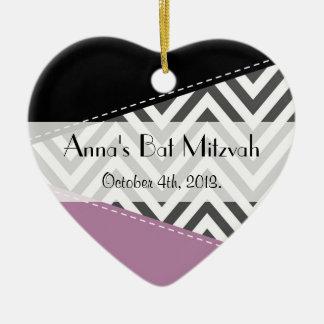 Knuppel Mitzvah - Zigzag, Chevron - Grijze Paarse Keramisch Hart Ornament