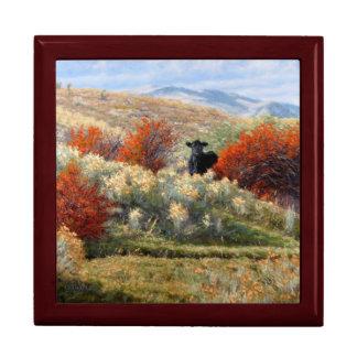 Koe in het Plaatsen van de Herfst de Doos van de Decoratiedoosje