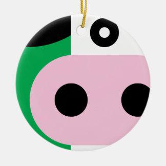 Koe Rond Keramisch Ornament