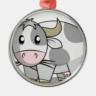 Koe Zilverkleurig Rond Ornament