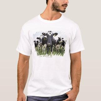 Koeien die zich in een rij bevinden die camera t shirt