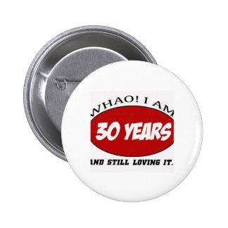 koel 30 jaar oud verjaardagsdesign speld button