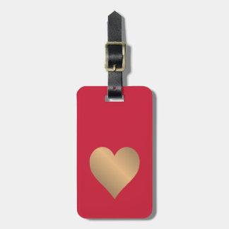 Koel Eenvoudig Rood Gouden Hart Faux Kofferlabel