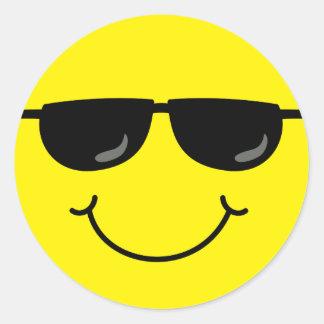 Koel Gezicht Smiley met Zonnebril Ronde Sticker