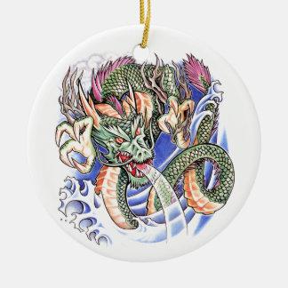 Koel het Groene Oosterse tattoo van de Draak Rond Keramisch Ornament