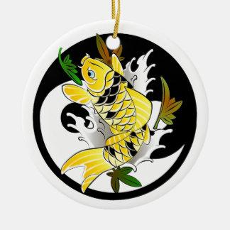 Koel het Oosterse Japanse Gouden tattoo van Koi Rond Keramisch Ornament