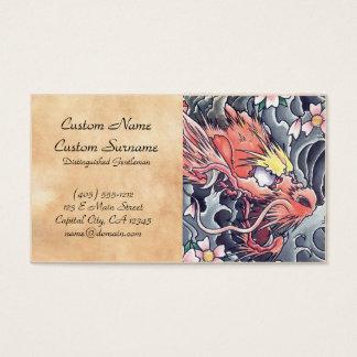 Koel het oosterse Japanse tattoo van de draakgod Visitekaartjes