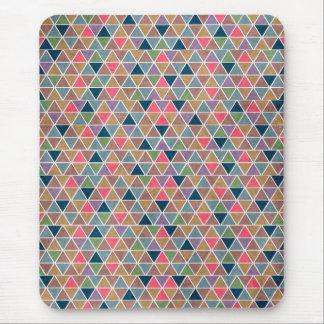 Koel kleurrijk retro geometrisch driehoekenpatroon muismatten