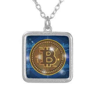 Koel logo Bitcoin en grafiekOntwerp Zilver Vergulden Ketting
