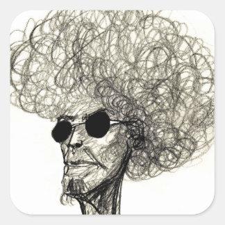 Koel Man met de Reusachtige Kerel van Afro van het Vierkante Sticker