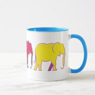 Koel van de Cartoon van het Silhouet van olifanten Mok