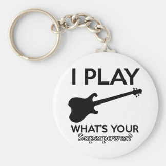 koele elektrische gitaar basic ronde button sleutelhanger