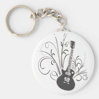 Koele gitaar basic ronde button sleutelhanger