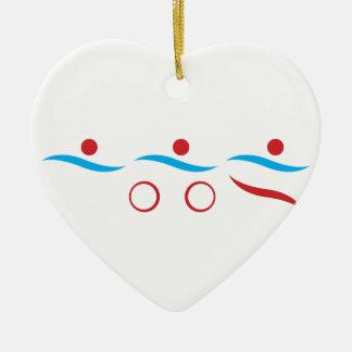 Koele het logoillustratie van Triathlon Keramisch Hart Ornament