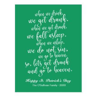 Koele Ierse St. Patrick van de Toost Groen & Witte Briefkaart