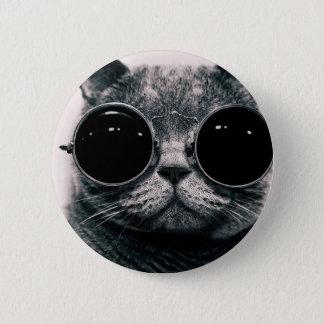 koele kattenkool kat met schaduwen ronde button 5,7 cm