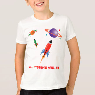 Koele kleurrijke ruimteraketten t shirt