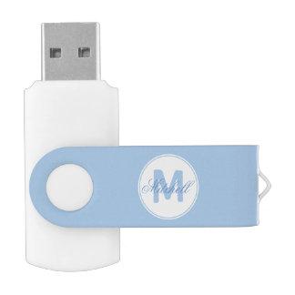 * Koele Naam en Cerulean Blauw van het Medaillon Swivel USB 2.0 Stick