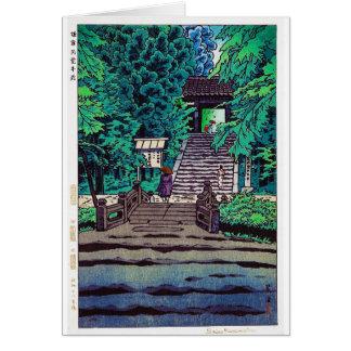 Koele oosterse Japanse bosingang Kasamatsu Notitiekaart