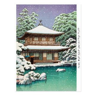 Koele oosterse Japanse de winterscène van Hasui Briefkaart