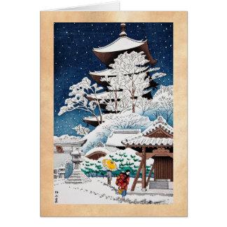Koele oosterse Japanse de wintersneeuw van Kaart