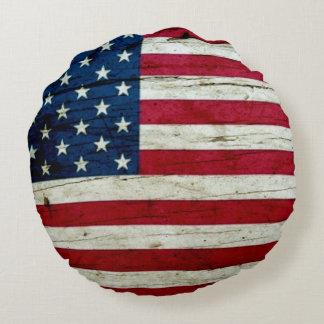 Koele Rustieke Amerikaanse Vlag Rond Kussen