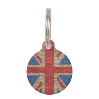 Koele trendy de Britse Union Jack jutetextuur van Honden Penningen