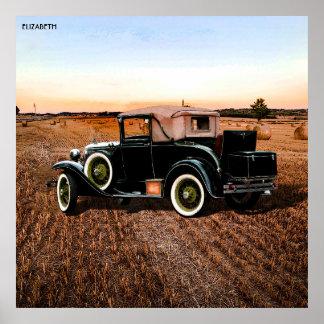 Koele Vintage Retro Auto in Roze en Zwarte Poster