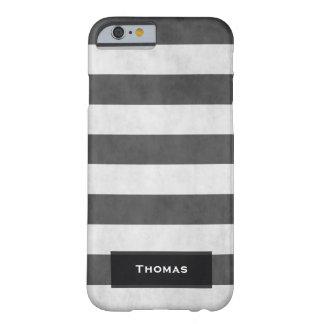 Koele Vintage Zwart-witte Geweven Strepen Barely There iPhone 6 Hoesje
