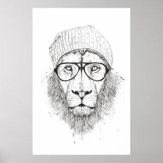 Koele (zwart-witte) leeuw poster