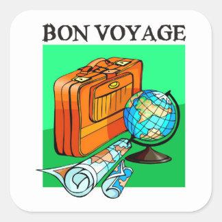 Koffer, bagage, kaart en wereldbol: De Reis van Vierkante Sticker