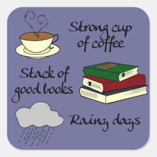 Koffie, Boeken & Regen - de Kleur van de Vierkante Sticker