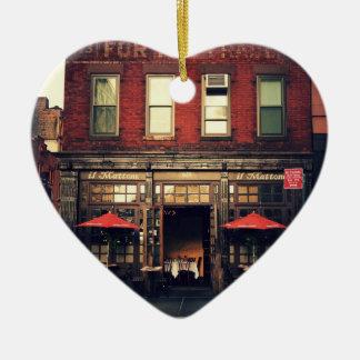 Koffie - de Stad van New York Keramisch Hart Ornament