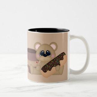 Koffie en donuts pretmok tweekleurige koffiemok