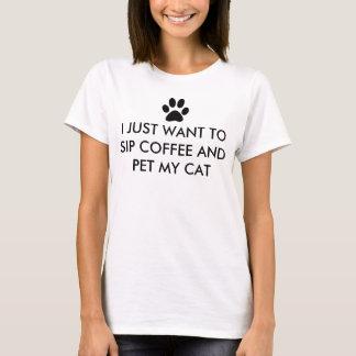 Koffie en Mijn Slogan van de Kat T Shirt