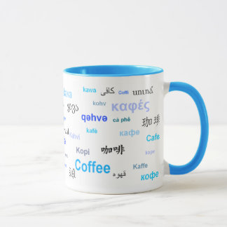 Koffie in verschillende (Blauwe) talen Mok