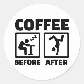 Koffie voordien daarna ronde stickers