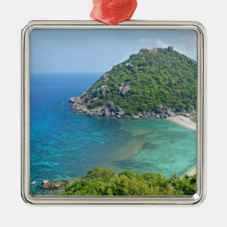 Koh Tao Thailand Zilverkleurig Vierkant Ornament