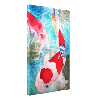 Kohaku Koi II Japans vissen origineel art. Canvas Afdruk