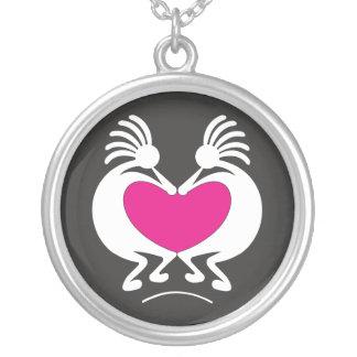 Kokopelli met roze hartValentijnsdag Zilver Vergulden Ketting