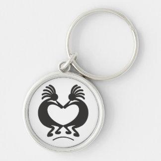 Kokopelli voor Valentijnsdag Zilverkleurige Ronde Sleutelhanger