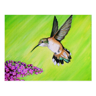 Kolibrie en Sering Briefkaart