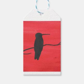 Kolibrie op Rood Cadeaulabel