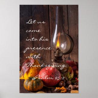Kom in Zijn Aanwezigheid met Thanksgiving, Psalm Poster