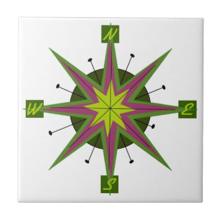 Kompas Afgeschuind Ontwerp Keramisch Tegeltje