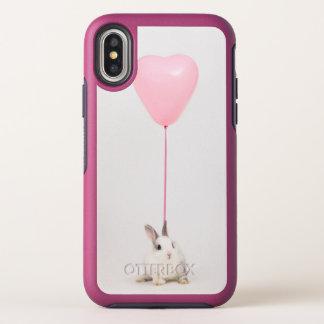 Konijn met Roze Ballon OtterBox Symmetry iPhone X Hoesje