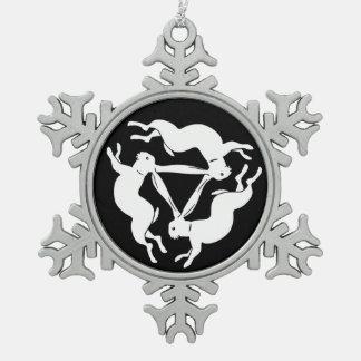 Konijn Tin Sneeuwvlok Ornament