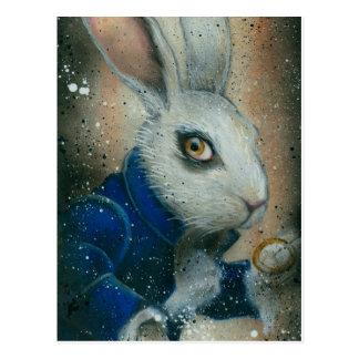 Konijn van Alice in het briefkaart van het