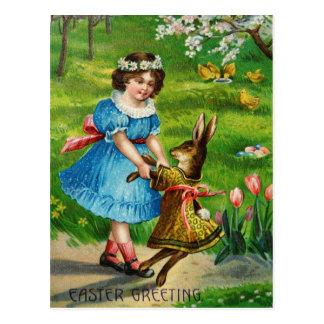 Konijntje & het Meisje van de Dans van Pasen het Briefkaart