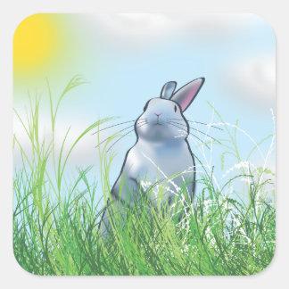 Konijntje in het Gras Vierkante Sticker